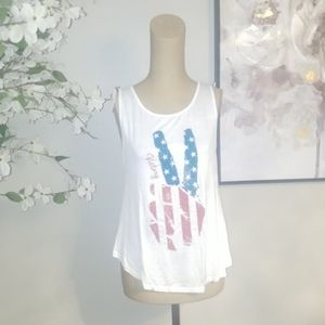 Tops - 5 for $30. NEW. Peace Hands USA Tank. Sz L